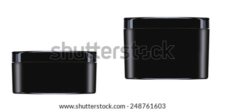 Cream containers isolated on white background - stock photo
