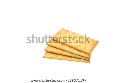Cream Crackers biscuit isolated on white background - stock photo