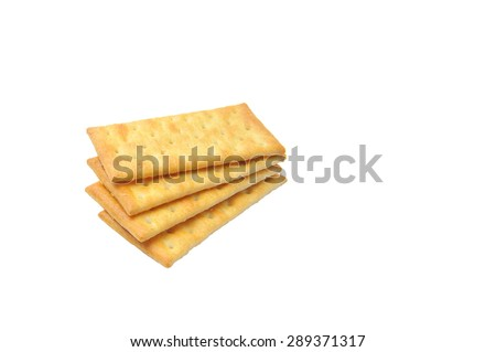Cream Crackers biscuit isolated on white background.Slightly defocused and close-up shot. - stock photo