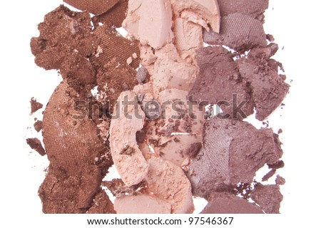 cream eyeshadows  isolated on white background - stock photo