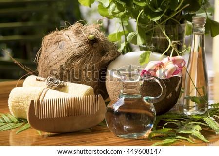 Cream hair: Gotu kola and coconut oil, herbal hair graying, dark hair back in a natural way. - stock photo