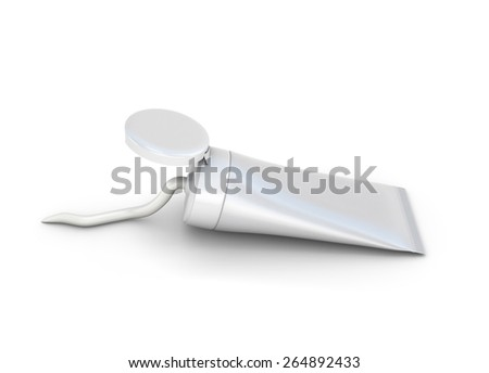 Cream is squeezed out from a tube on a white background. 3d illustration. - stock photo