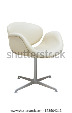 cream leather armchair isolated on white. - stock photo