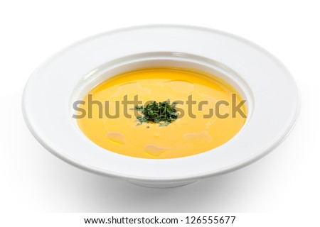 Cream of Cauliflower Soup with Green Herb - stock photo