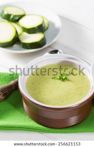 Cream of fresh zucchini in a casserole - stock photo