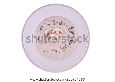 Cream of mushroom soup. - stock photo