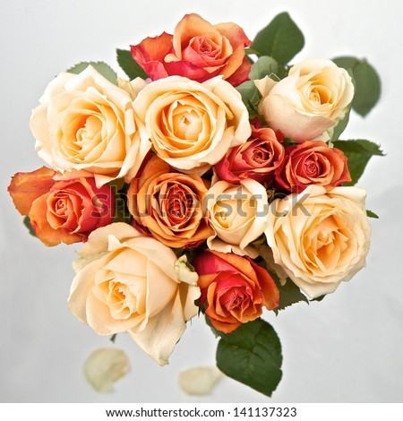 Cream orange and peach roses in a bunch - stock photo