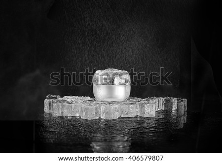Cream pot and water spray. Concept beauty and felling fresh - stock photo