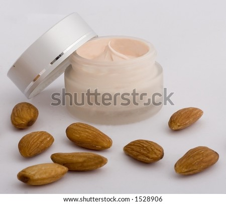 Cream product with almond. - stock photo