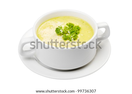 cream soup in white bowl isolated - stock photo