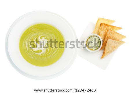 Cream Soup with Spinach. White background - stock photo