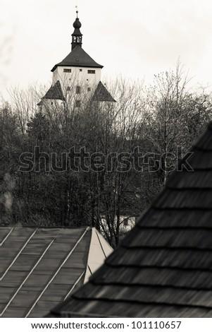 cream tone image of New castle fortress in Banska Stiavnica, Slovakia - stock photo