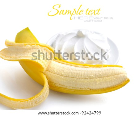 Cream with banana on a white background - stock photo