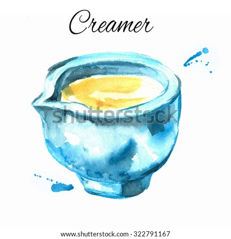 Creamer in  bowl. Watercolor. Illustration for cooking site, menus, books. - stock photo