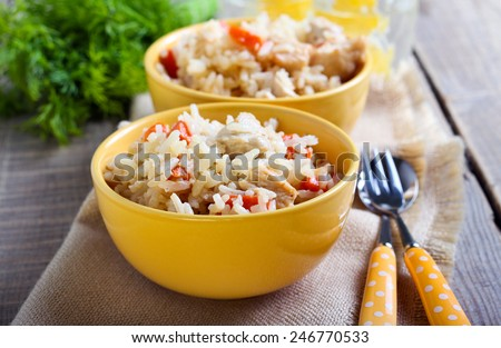 Creamy chicken and carrot rice in bowls - stock photo