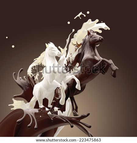 creamy milky and coffee liquid horses running gallop over mixed splashes making drops  - stock photo