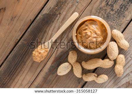 Creamy Peanut Butter. Selective focus. - stock photo