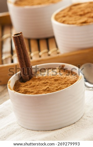 Creamy rice pudding sprinkled with cinnamon - stock photo
