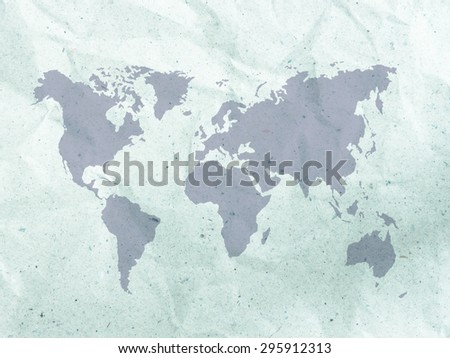 Creased paper background texture with world map - stock photo