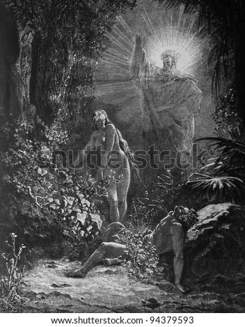 Creation of Eve. 1) Le Sainte Bible: Traduction nouvelle selon la Vulgate par Mm. J.-J. Bourasse et P. Janvier. Tours: Alfred Mame et Fils. 2) 1866 3) France 4) Gustave Doré - stock photo