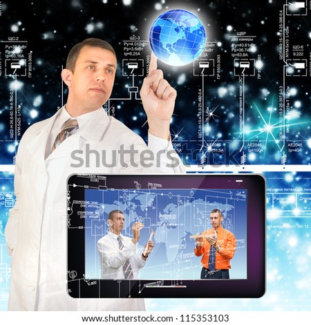Creation of the newest telecommunication and the Internet of technologies  future - stock photo