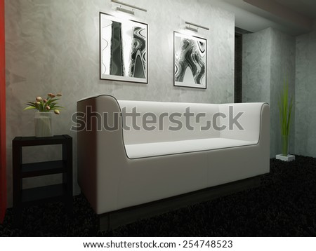 Creation stages, a modern interior of house space 3d rendering  - stock photo