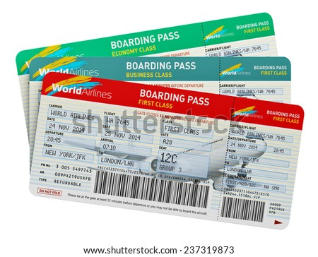 Creative abstract air business travel, tourism and transportation concept: group of color airline tickets for first, business and economy class travel isolated on white background - stock photo