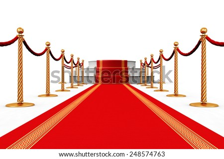Creative abstract award ceremony and success in business concept: red carpet with pedestal podium scene and golden chain barriers isolated on white background - stock photo