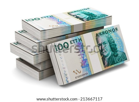 Creative abstract banking, money making and business success financial concept: heap of stacks of 100 Swedish krona banknotes isolated on white background - stock photo