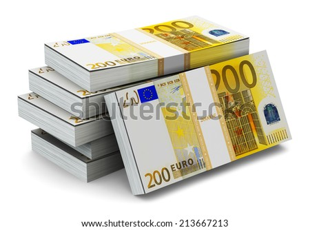 Creative abstract banking, money making and business success financial concept: heap of stacks of 200 Euro banknotes isolated on white background - stock photo
