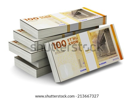 Creative abstract banking, money making and business success financial concept: heap of stacks of 100 Danish krone banknotes isolated on white background - stock photo