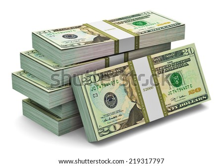 Creative abstract banking, money making and business success financial concept: heap of stacks of 20 dollars banknotes isolated on white background - stock photo