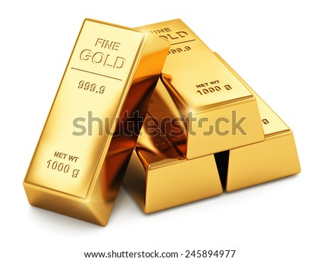Creative abstract business success, financial growth, banking, accounting and stock exchange trade market corporate concept: stack of shiny gold ingots, bars or bullions isolated on white background - stock photo