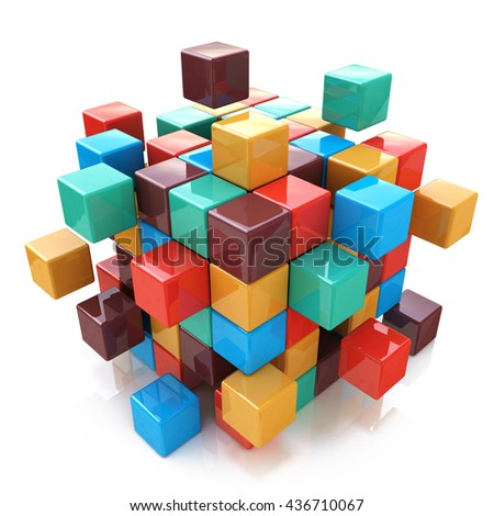 Creative abstract business teamwork, internet and communication concept: glossy color cubic structure with assembling colored cubes isolated on white background with reflection effect. 3d illustration - stock photo