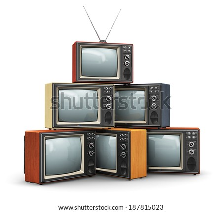 Creative abstract communication media and television business concept: stack or pile of old retro color wooden home TV receiver sets with antenna isolated on white background - stock photo
