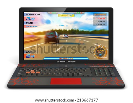 Creative abstract computer gaming and PC entertainment technology concept: modern black gamer laptop or notebook with video game isolated on white background - stock photo