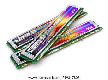Creative abstract computer PC technology and electronic industry business concept: group of DDR4 RAM memory modules with aluminum heatsinks isolated on white background - stock photo