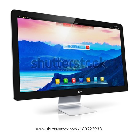 Creative abstract computer technology office business concept: modern TV display screen or monitor with colorful interface isolated on white background with reflection effect - stock photo