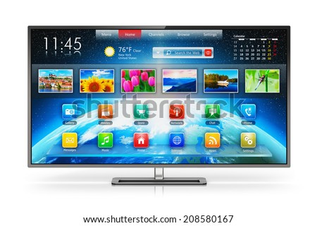 Creative abstract digital multimedia entertainment and media television broadcasting internet business concept: smart TV display screen with color web interface isolated on white background - stock photo