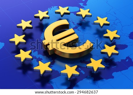 Creative abstract European Union money currency financial business commercial concept: 3D illustration of gold Euro symbol or golden sign in circle of stars over blue map of Europe - stock photo