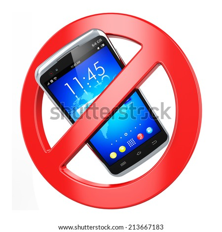 Creative abstract forbidden cellular communication and prohibited wireless connection business concept: no mobile phone sign isolated on white background - stock photo
