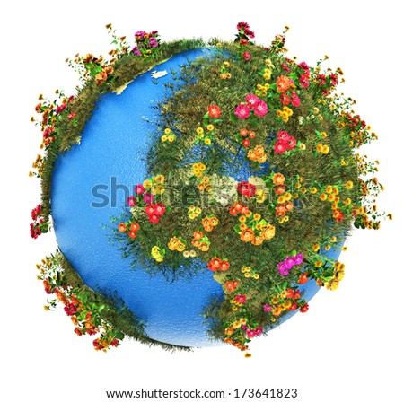 Creative abstract global ecology and environment protection business concept: mini green Earth planet globe with world map with green grass and color meadow flowers isolated on white background - stock photo