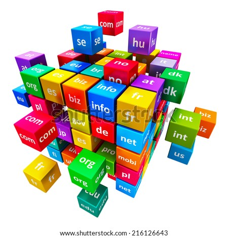 Creative abstract global internet communication PC technology and web telecommunication business computer concept: group of color cubes with domain names isolated on white background - stock photo