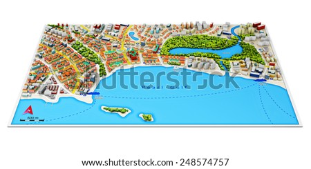 Creative abstract GPS satellite navigation, travel, tourism and location route planning business concept: color city map with 3D town architecture buildings isolated on white background - stock photo