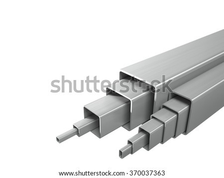 Creative abstract illustration: many shiny steel pipes, industrial three-dimensional image, illustration. A set of tubes stacked in layers, great for business cards, billboards, and other advertising. - stock photo