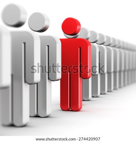 Creative abstract individuality, uniqueness and leadership business concept: single red 3D people figure in row of white figures isolated on white background with selective focus effect - stock photo