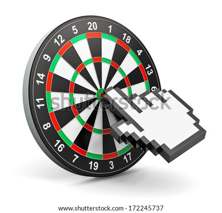 Creative abstract internet marketing and web success business technology concept: dartboard with computer mouse hand finger cursor isolated in white background - stock photo