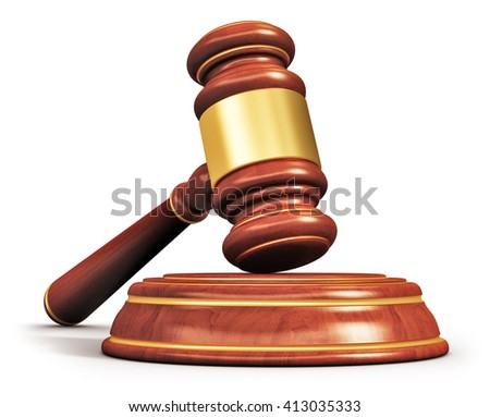 Creative abstract law, justice and auction lot bidding business concept: 3D render illustration of wooden gavel, mallet or hammer with wood stand isolated on white background - stock photo
