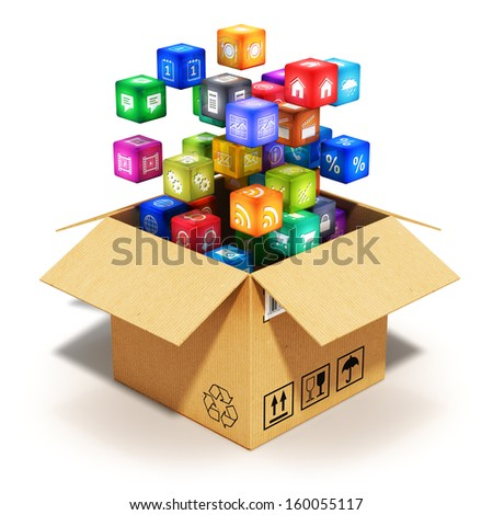 Creative abstract mobile applications software and wireless communication internet web concept: cloud of color app icons or buttons for smartphone or tablet computer in cardboard box isolated on white - stock photo