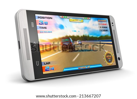 Creative abstract mobile gaming and computer entertainment technology concept: modern black glossy touchscreen smartphone with video game isolated on white background - stock photo